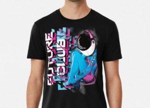 t shirt design future club cyborg girl with helmet cybercitypunk