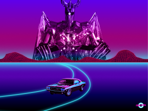retro music art car grid mountains