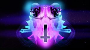 Skulls with neon eyes and a reverse cross on neon aesthetic illustration wallpaper