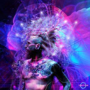 Cyberpunk cyborg portrait neonlights cybercitypunk