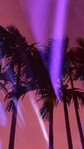 dark palm trees with pink sky and purple lightstrike phone wallpaper cybercitypunk