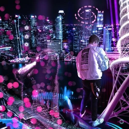 Flying over cyberpunk Singapore