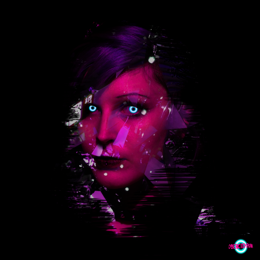 digital art portrait with neon eyes cybercitypunk