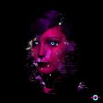 digital art portrait with neon eyes cybercitypunk