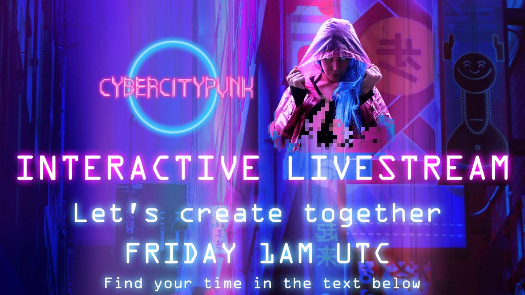 interactive livestream let's create together cyberpunk sytle building and cyborg girl on top