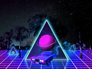 retro wave art outrun grid